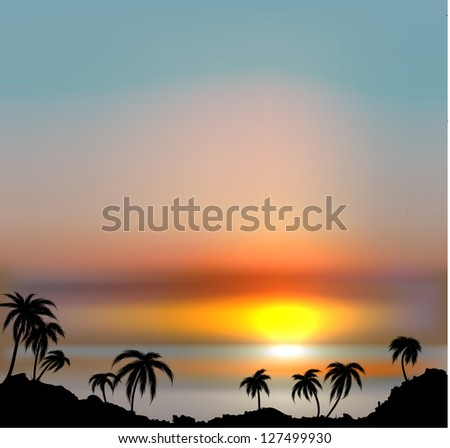 Sunset vector background with sea and palm trees. - stock vector