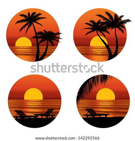 Sunset View At Resort Relaxing In The Evening On Beach With Palm Tree Vector