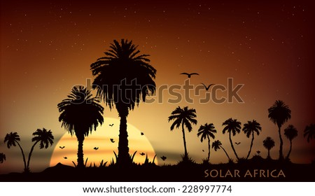 Sunsets and sunrises over the savanna with palm trees - stock vector