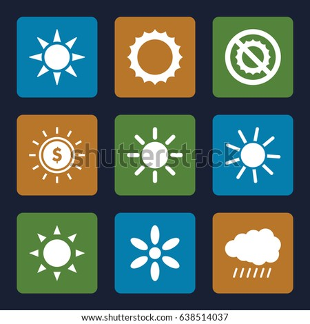 Sunshine icons set. set of 9 sunshine filled icons such as sun, no brightness