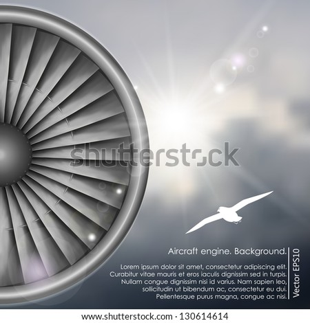 Sunshine in the dark sky and a type of the engine of the airplane. Realistic background. - stock vector