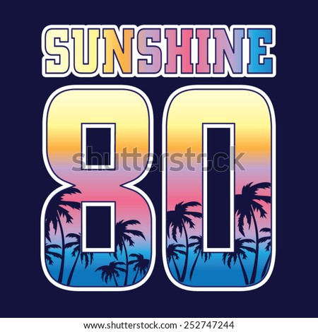Sunshine typography, t-shirt graphics, vectors, surf - stock vector
