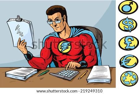 Super accountant - stock vector