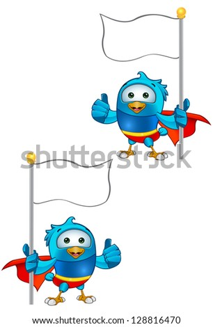 Super Blue Bird - Holding A Flag Giving A Thumbs Up - stock vector
