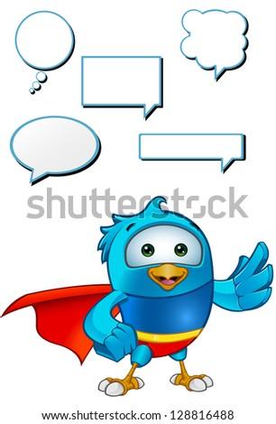 Super Blue Bird - Presenting - stock vector