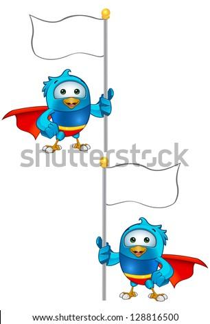 Super Blue Bird - Thumbs Up Holding Flag - stock vector