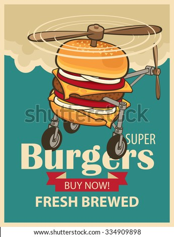 super burger with wheels and a propeller like a helicopter - stock vector