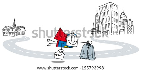 Super Business Man fly to work with briefcase and suit. It's a metaphor of the career development of a businessman. - stock vector