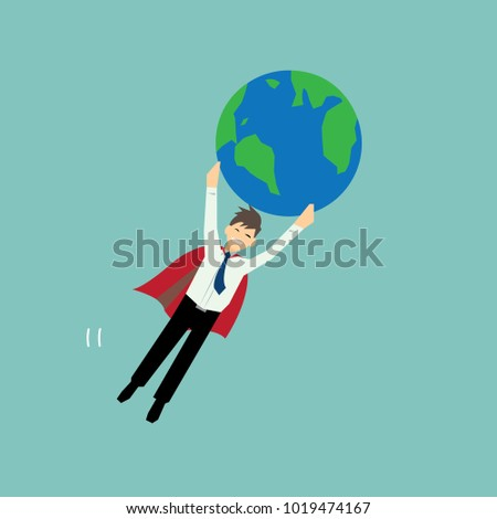 Super businessman flying and holding earth- vector cartoon