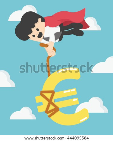Super Businessman pulling dollar sign not let the money fall - stock vector