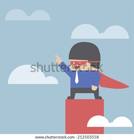 Super businessman standing on the top of the graph, VECTOR, EPS10 - stock vector