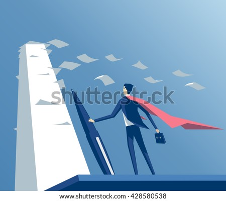 Super businessman standing with a pen in front of big stack of papers,wind blows the pages and the cape, business concept paper work - stock vector