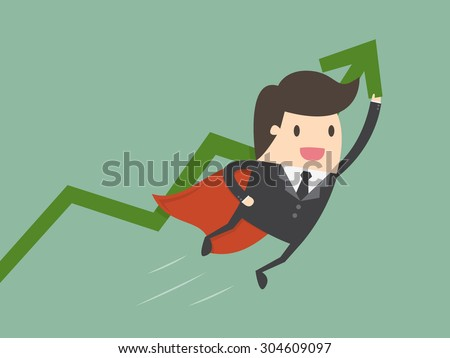 Super businessman with growing graph. Business concept cartoon illustration.