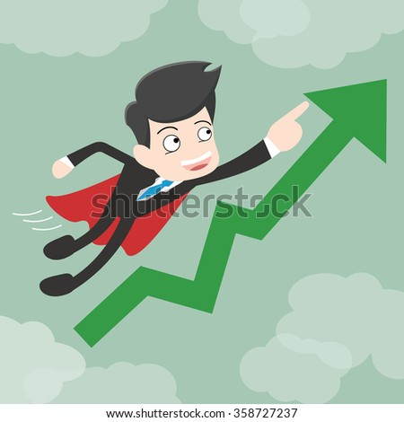 Super businessman with growing graph. Business concept cartoon illustration