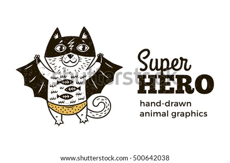 Super Cat in costume character isolated on white background. Cartoon vector illustration. Hand drawn animal graphics.