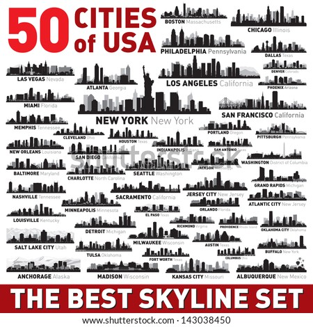 Super city skyline set. 50 vector city silhouettes of USA - stock vector