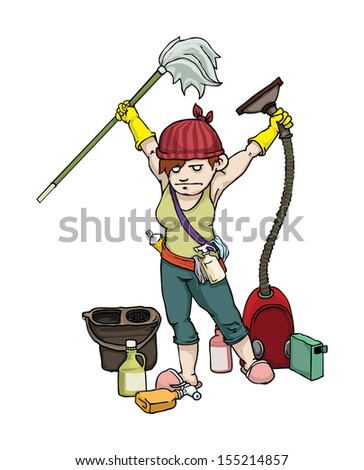 Super cleaning Mom, with all of her equipment, vector illustration