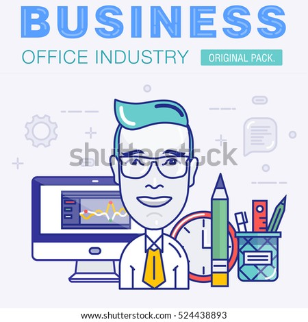 Super color modern business office work. Global trade industry thin line concept. Professional setting in communication technology and management elements. High quality vector. Pictogram for design.