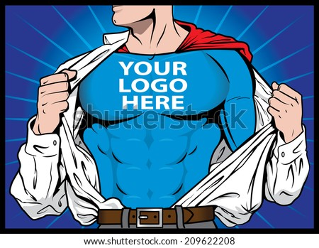 Super Company! (Text is on it's own layer for easy removal and replacement) - stock vector