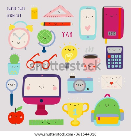Super cute set of Education icons - computer, phone, notebook, coffee, photo camera and other stuff. Hand drawn Smiley characters about study, work and science. Back to school objects collection.
