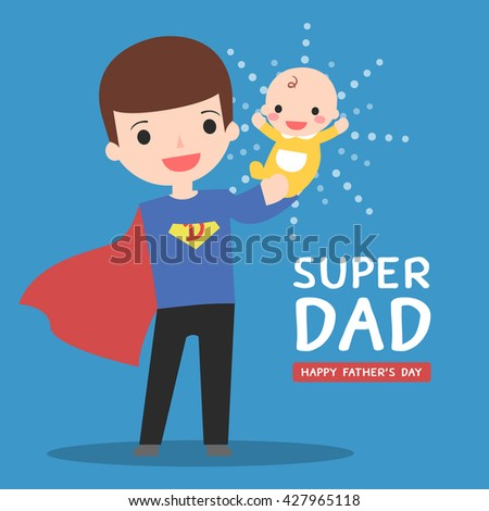 super dad with his baby - stock vector
