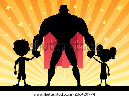 Super dad with his kids. No transparency used. Basic (linear) gradients.  - stock vector