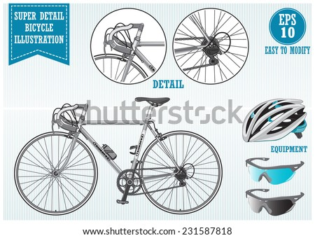 Super detail bike or bicycle with helmet and sunglasses illustration, easy to modify.  - stock vector