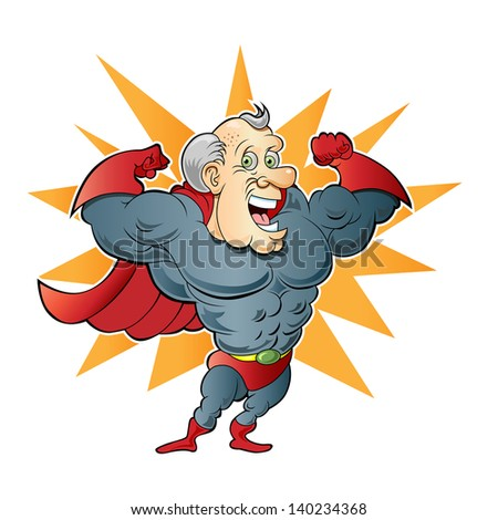 Super Elderly Man - stock vector