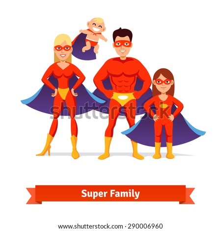 Super family. Superhero man father, woman mother, girl daughter and baby. Flat style vector illustration. - stock vector