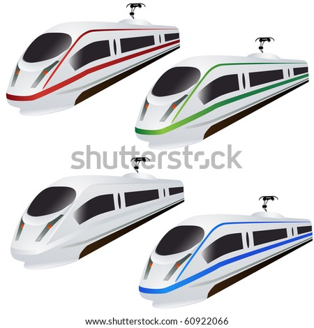 Super Fast train set isolated on white vector - stock vector