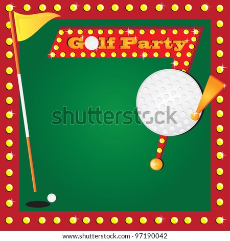 Super fun golf or miniature golf party invitation with glowing lights and a retro golf party sign with a huge detailed golf ball for your party info. Cute flag for the age of your child.
