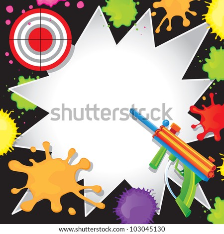 Super fun Paintball Birthday Invitation with colorful paintball gun shooting at a bullseye target with cool comic book starbursts paint splatters - stock vector