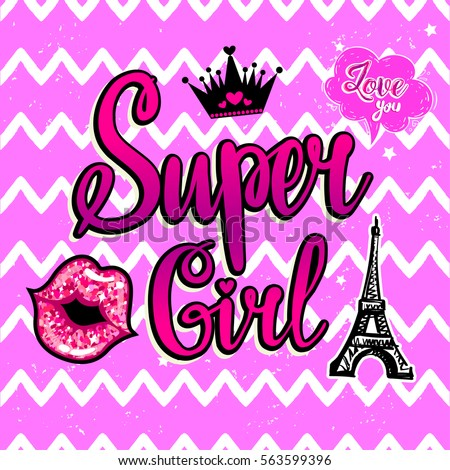 Super Girl Fashion Wallpaper In Pink Colors With Black Crown And Heart Patch Badge Eiffel