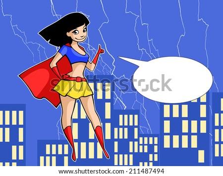 Super girl in bright costume - stock vector