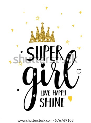 super girl typography illustration vector for girl clothes.