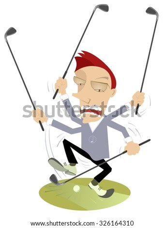 Super golfer is playing golf by many clubs   - stock vector