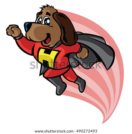 Super hero dog flying