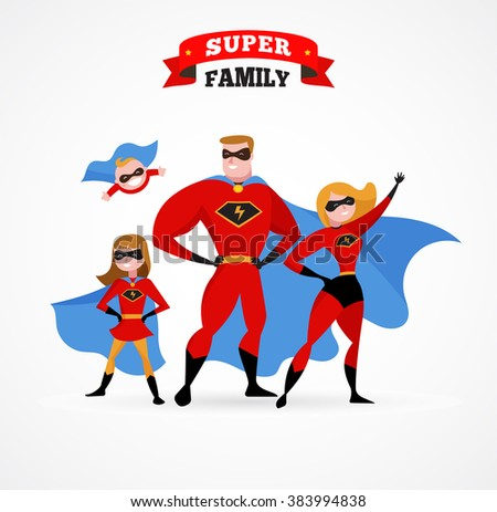 Super hero family - mom, daddy and children - stock vector