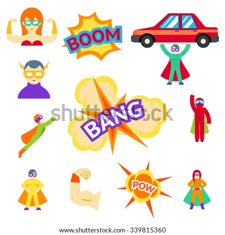 Super hero flat icons characters set. Cape and action superhero, car and mask, flying heroic, vector illustration - stock vector