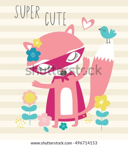 Super hero fox cartoon/My little fox/children's card or print on fabric/Cute little fox. Vector set. Zoo, animal Forest,Cute illustration for kids,greeting card,For apparel or other uses,in vector.