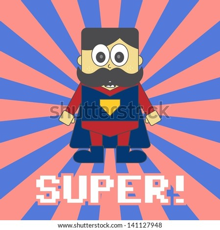 super hero game cartoon mustache guy - stock vector