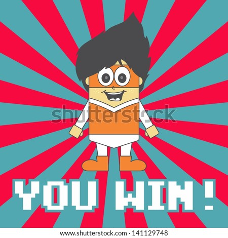 super hero game orange boy - stock vector