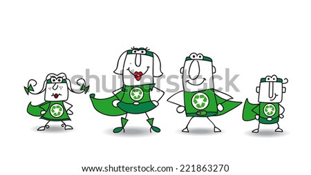 Super Hero green Family. We are the family of superheroes and we can help you to recycling your rubbishes ! - stock vector