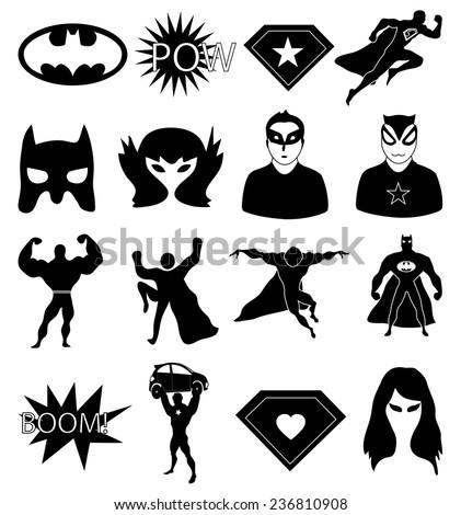 Super hero icons set - stock vector