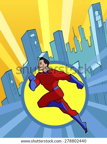 Super hero in cool red costume flying forward above modern city - stock vector