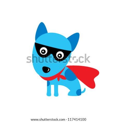 super hero puppy dog - stock vector