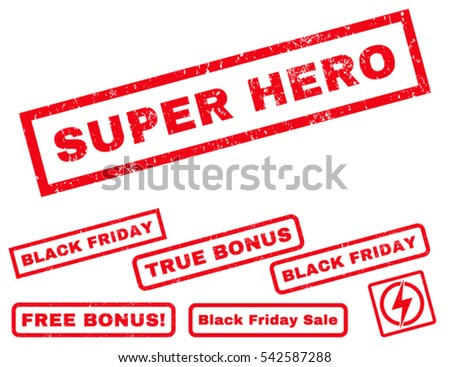 Super Hero rubber seal stamp watermark with bonus design elements for Black Friday offers. Vector red signs. Caption inside rectangular shape with grunge design and dust texture.