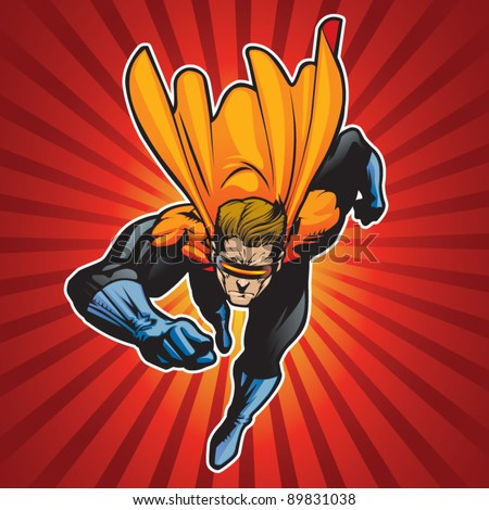 Super hero running forward at a fast pace. - stock vector