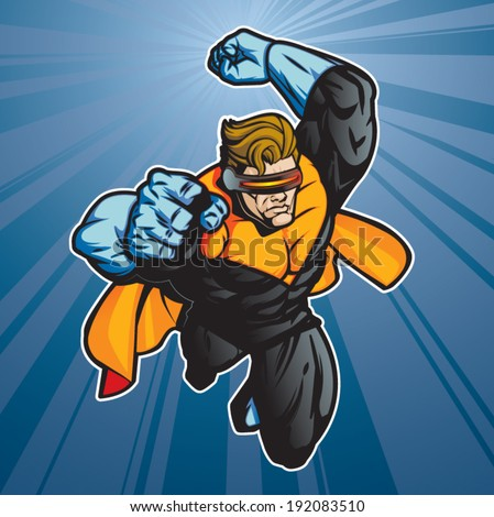 Super hero with visor getting ready for action. Layered and easy to edit.  - stock vector