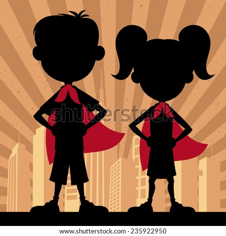 Super Kids 2: Square banner of super kids. No transparency and gradients used.  - stock vector